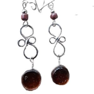 Handmade unique amber brown drop Earrings